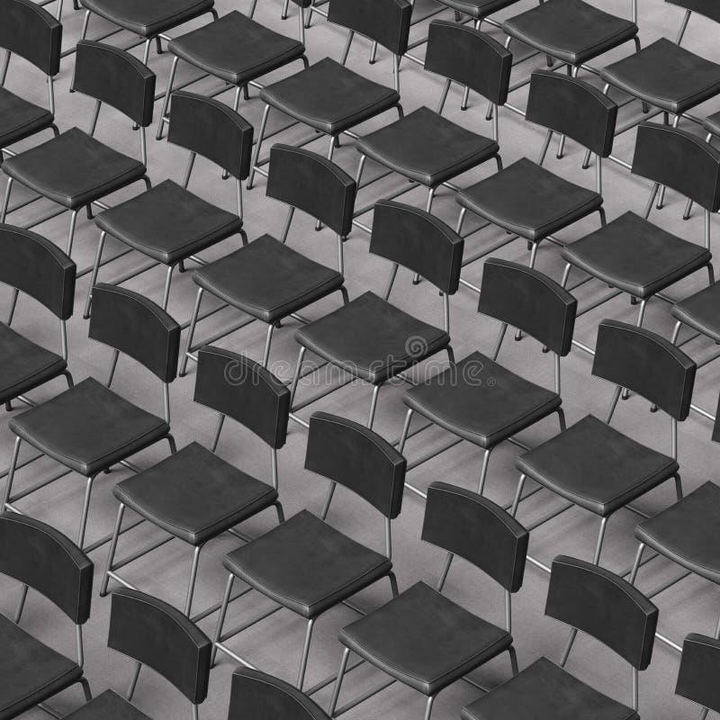 Аккуратно выровнянные черные стулья кожи и стали на поле ковра конференции бесплатная иллюстрация