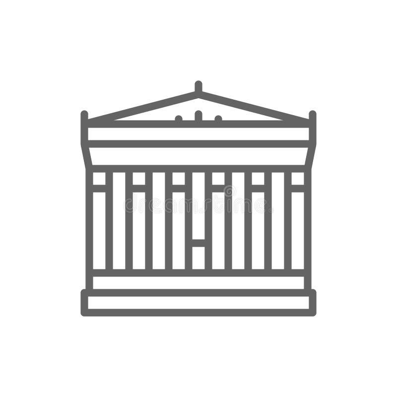 Акрополь Афина, Греции, линии значка ориентира иллюстрация вектора