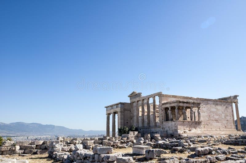 Акрополь - висок Erechtheum в Афина стоковое фото