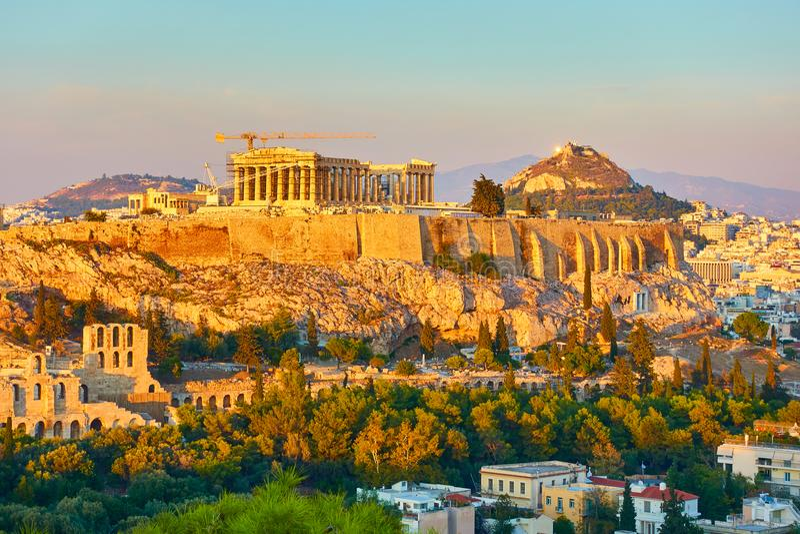 Акрополь и панорамный взгляд Афин стоковое изображение