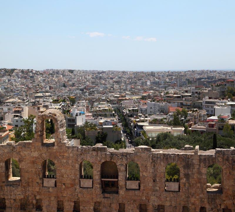 акрополь как athens увиденная Греция стоковое изображение
