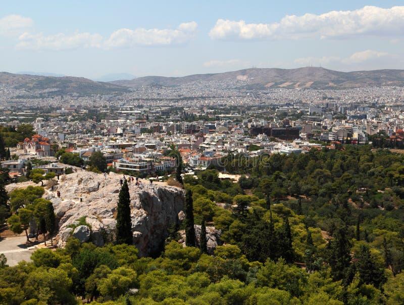 акрополь как athens увиденная Греция стоковые изображения rf