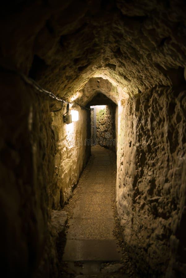 Акр, Израиль - тоннель Templar стоковое фото rf
