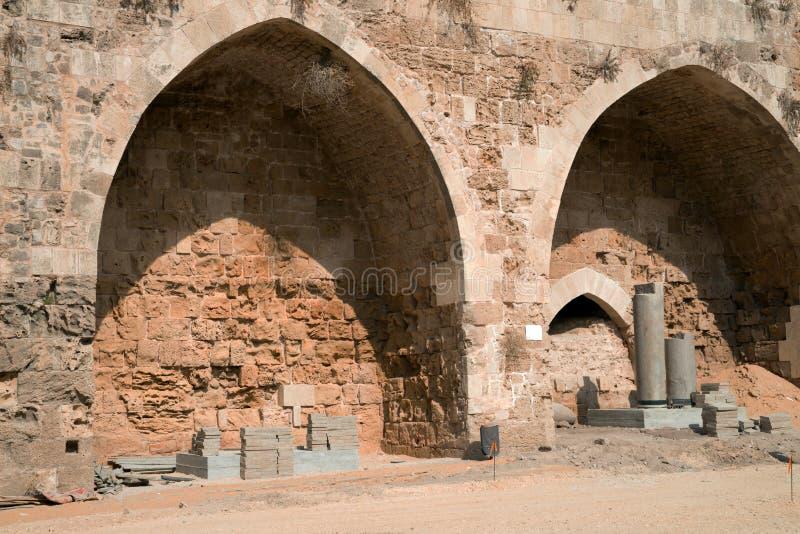Акр, Израиль - цитадель и тюрьма стоковые фото
