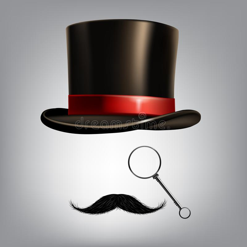 Аксессуары джентльмена: цилиндр, monocle и усик шляпы также вектор иллюстрации притяжки corel иллюстрация штока