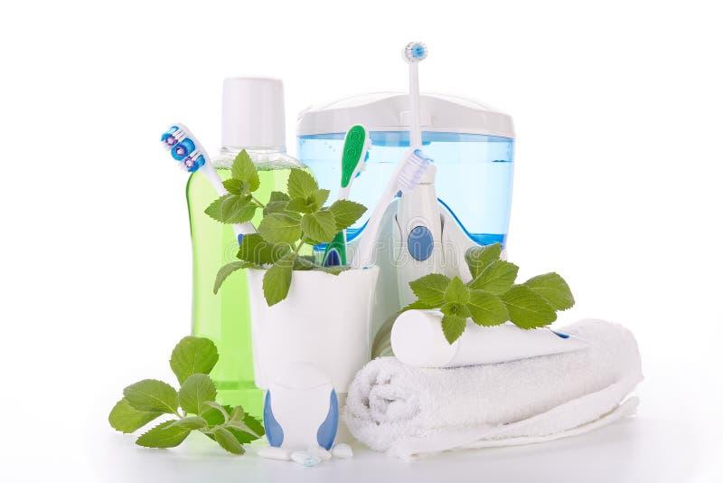 Аксессуары для очищать зубов Гигиена полости рта стоковое изображение