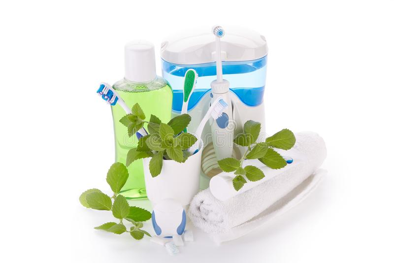 Аксессуары для очищать зубов Гигиена полости рта стоковые фото