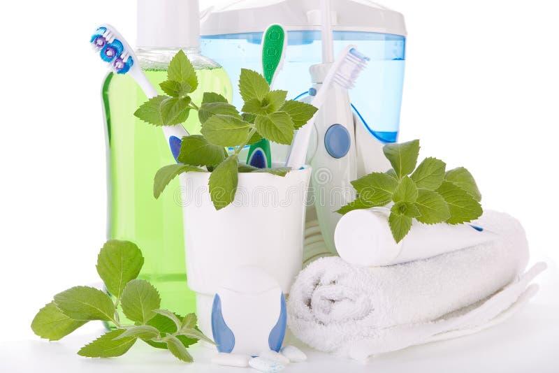 Аксессуары для очищать зубов Гигиена полости рта стоковые изображения
