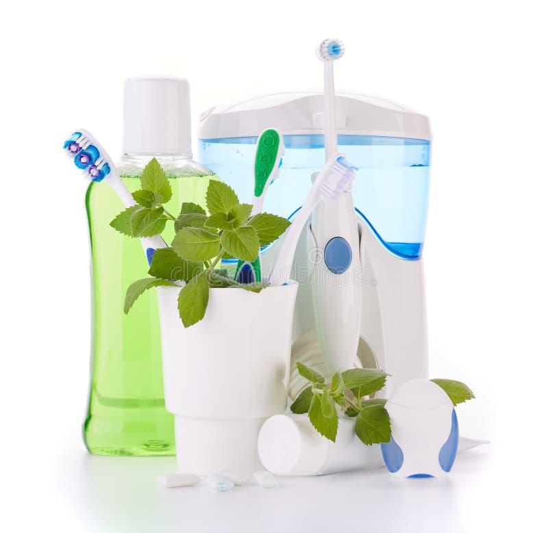 Аксессуары для очищать зубов Гигиена полости рта стоковая фотография rf