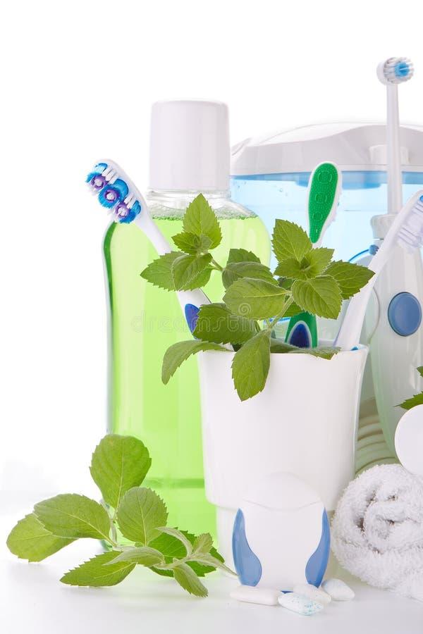 Аксессуары для очищать зубов Гигиена полости рта стоковое фото