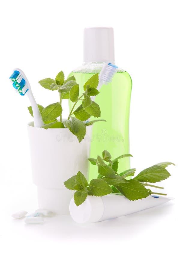 Аксессуары для очищать зубов Гигиена полости рта стоковые изображения rf