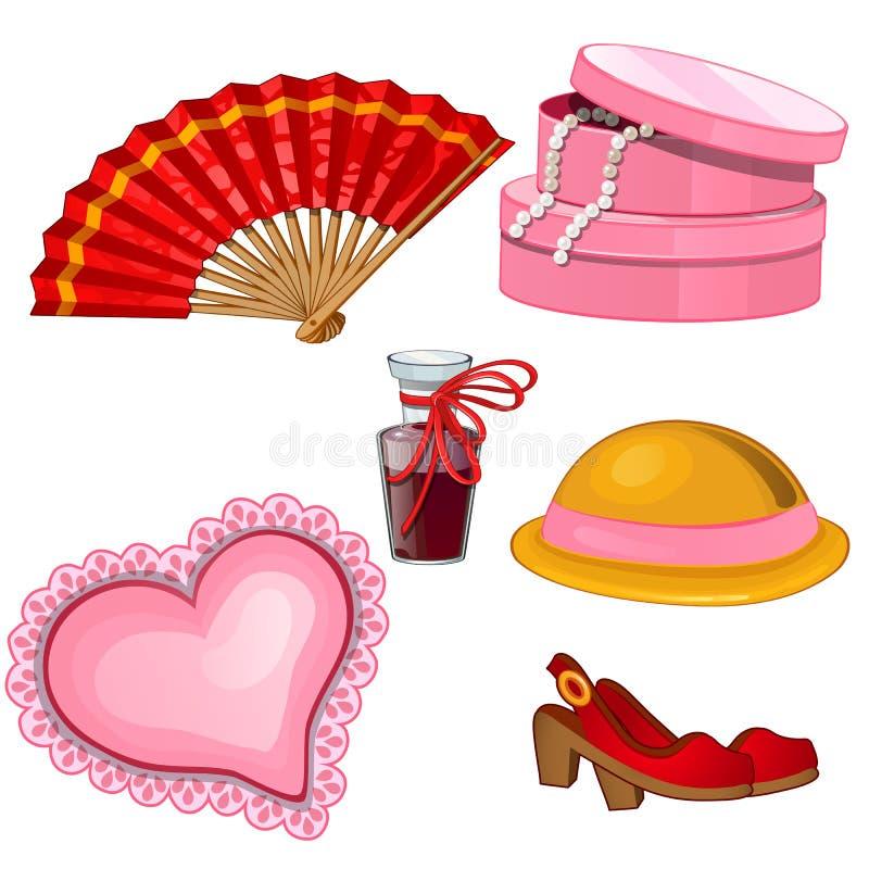 Аксессуары женщин - вентилятор, ботинки, дух, шляпа, шкатулка для драгоценностей, валик бесплатная иллюстрация