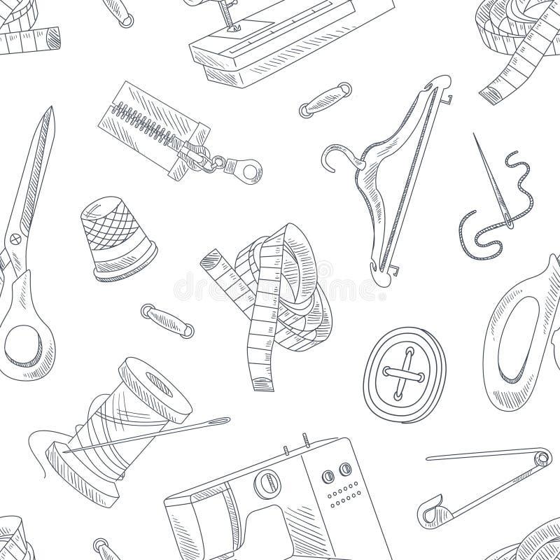 Аксессуары нарисованные рукой шить безшовную картину, Needlework, Monochrome элемент дизайна можно использовать для обоев иллюстрация вектора