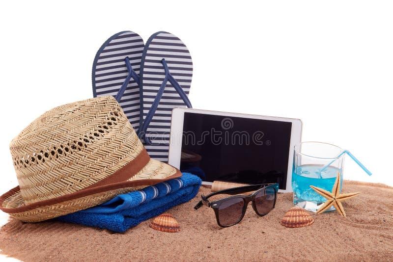 Аксессуары пляжа, каникулы моря стоковое изображение