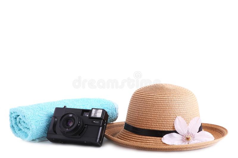Аксессуары путешественника изолированные на белой концепции каникул перемещения предпосылки r стоковые изображения