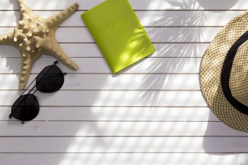 Аксессуары путешественника, тропические ветви лист ладони на белой предпосылке с пустым космосом для текста r o стоковая фотография