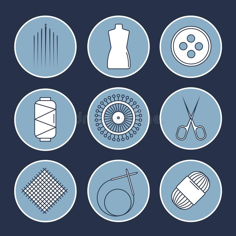 Аксессуары ремесленничества вектора Линия искусство установила аксессуаров для шить и handmade иллюстрация штока