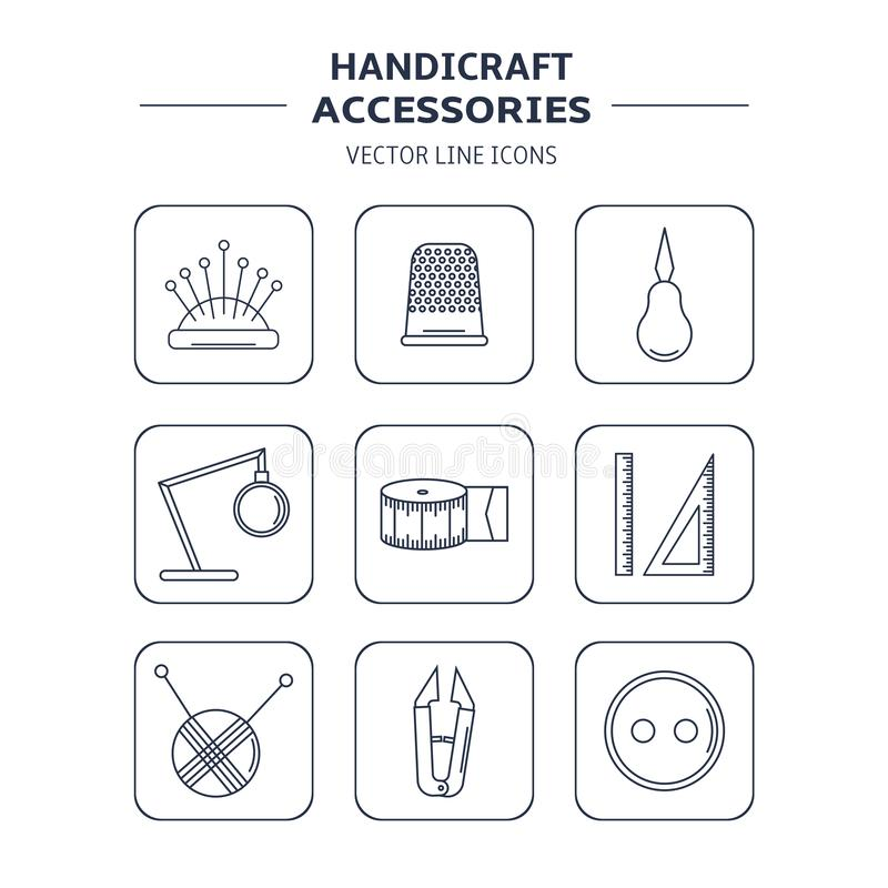Аксессуары ремесленничества вектора Линия искусство установила аксессуаров для шить и handmade иллюстрация вектора