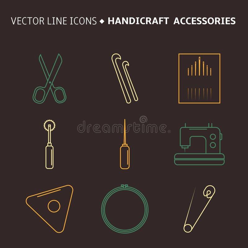 Аксессуары ремесленничества вектора Линия искусство установила аксессуаров для шить и handmade бесплатная иллюстрация