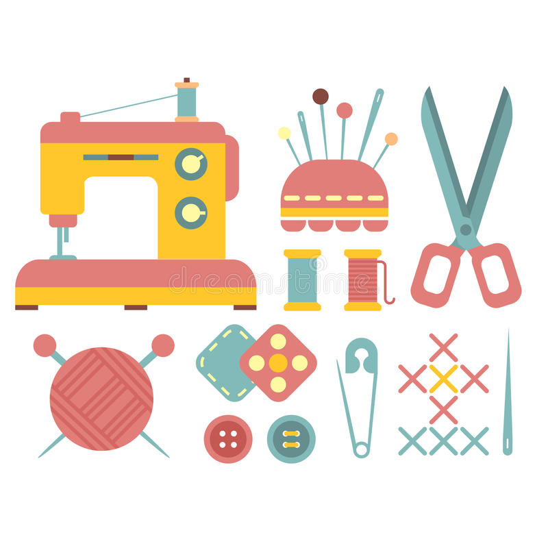 Аксессуары шить и ремесленничества иллюстрация штока