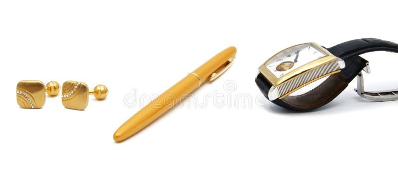 Аксессуары ` s людей: вахта, ручка, связи тумака, вахта стоковая фотография