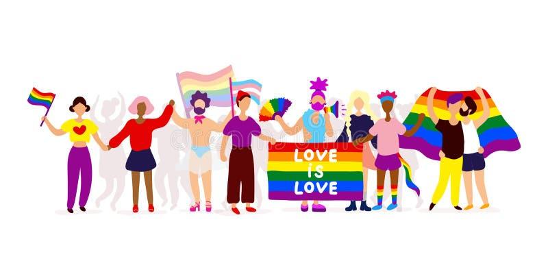 Активисты гордости LGBTQ стоя совместно иллюстрация вектора