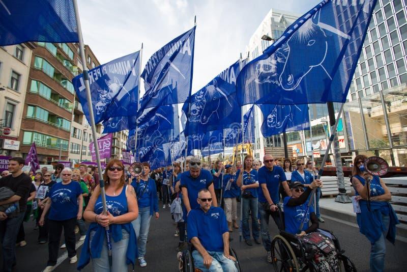 Активисты Gaia бельгийца протестуют на улицах Брюсселя стоковые фотографии rf
