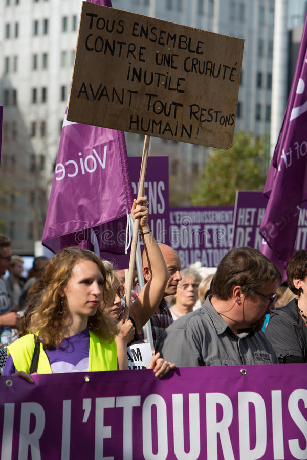 Активисты Gaia бельгийца протестуют на улицах Брюсселя стоковая фотография