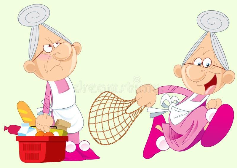 Активная бабушка иллюстрация вектора