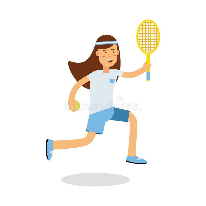 Активная девушка играя теннис с ракеткой в ее руках персонаже из мультфильма, физических активностях детей vector иллюстрация иллюстрация штока