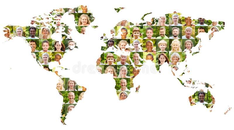 Активная концепция мирового населения с коллажем портрета стоковое фото rf