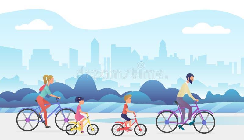 Активная семья вне отключения каникул Отец, мать, дочь и сын едут велосипеды в парке города Ультрамодный градиент иллюстрация штока
