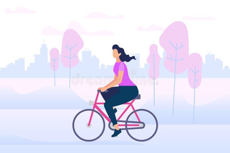 Активная стильная девушка наслаждаясь ездой велосипеда под открытым небом бесплатная иллюстрация