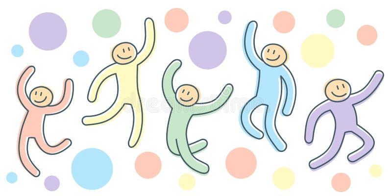 Активное движение скача людей как иллюстрация представлений мультфильма бесплатная иллюстрация