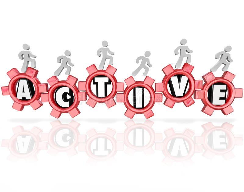 Активное слово зацепляет людей работая фитнес физической активности иллюстрация штока