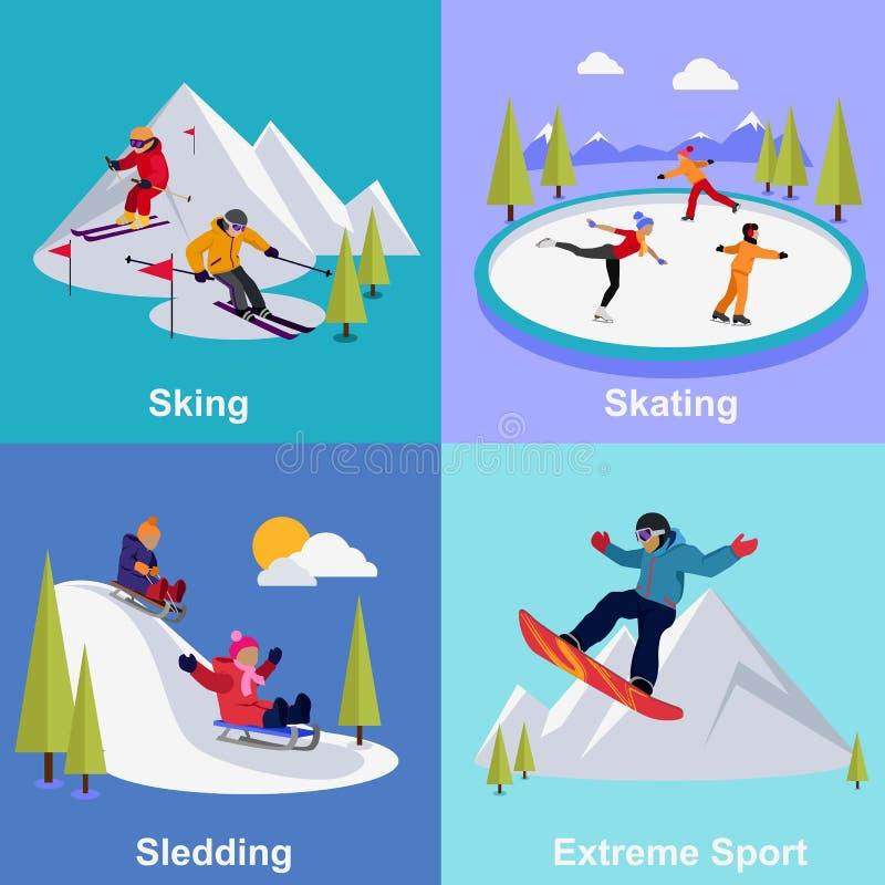 Активные спорт крайности каникул зимы иллюстрация штока