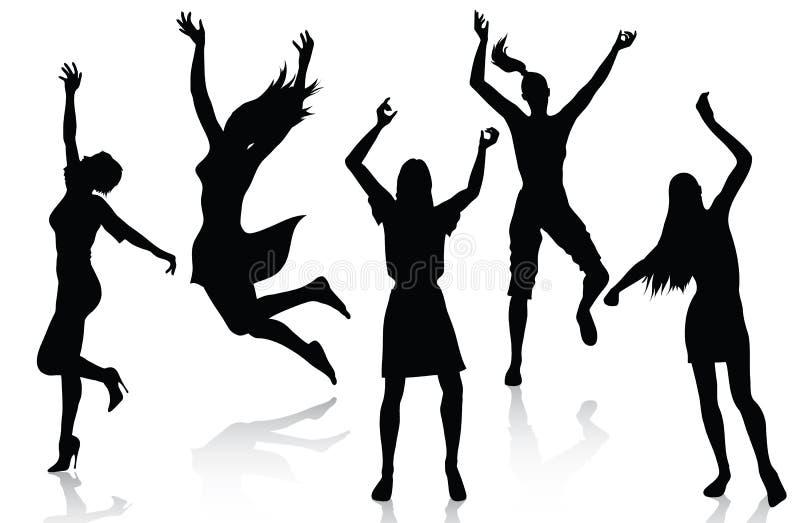 активные счастливые женщины силуэтов иллюстрация вектора