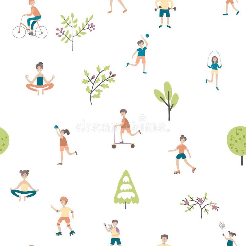 Активный образ жизни, развлечения спорт outdoors Безшовная картина, иллюстрация предпосылки вектора бесплатная иллюстрация