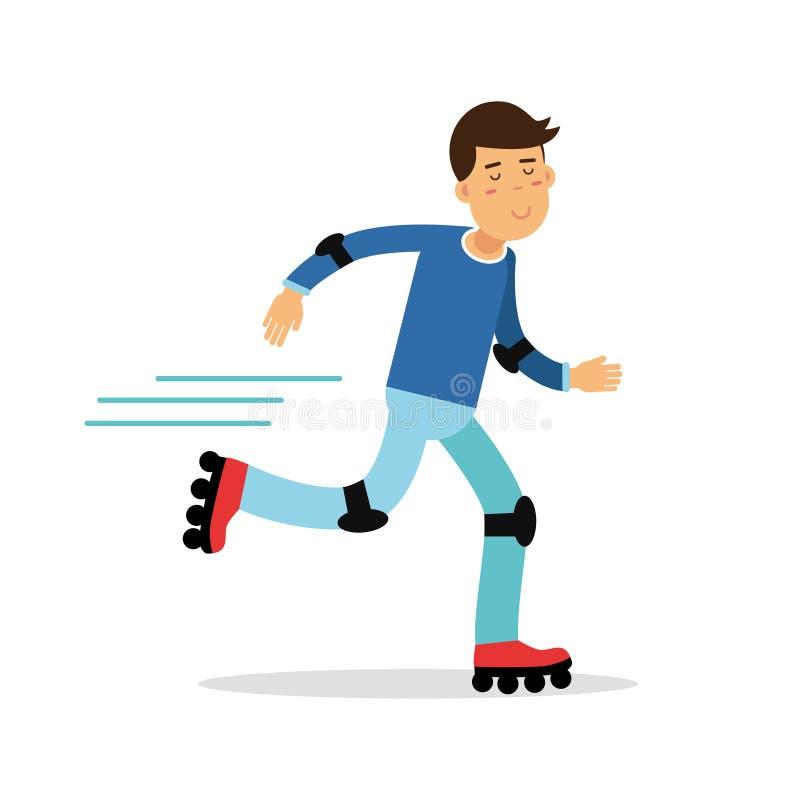 Активный персонаж из мультфильма кататься на коньках ролика мальчика, физические активности детей vector иллюстрация бесплатная иллюстрация