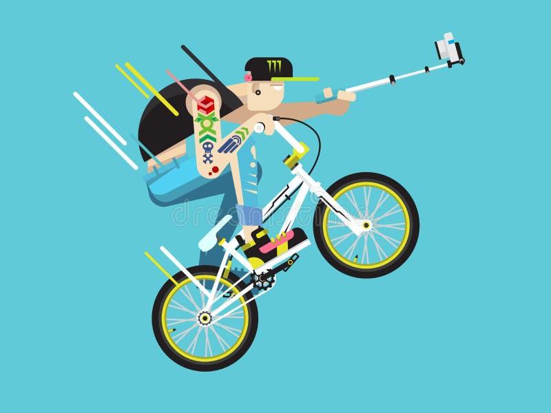 Активный характер велосипедиста иллюстрация вектора