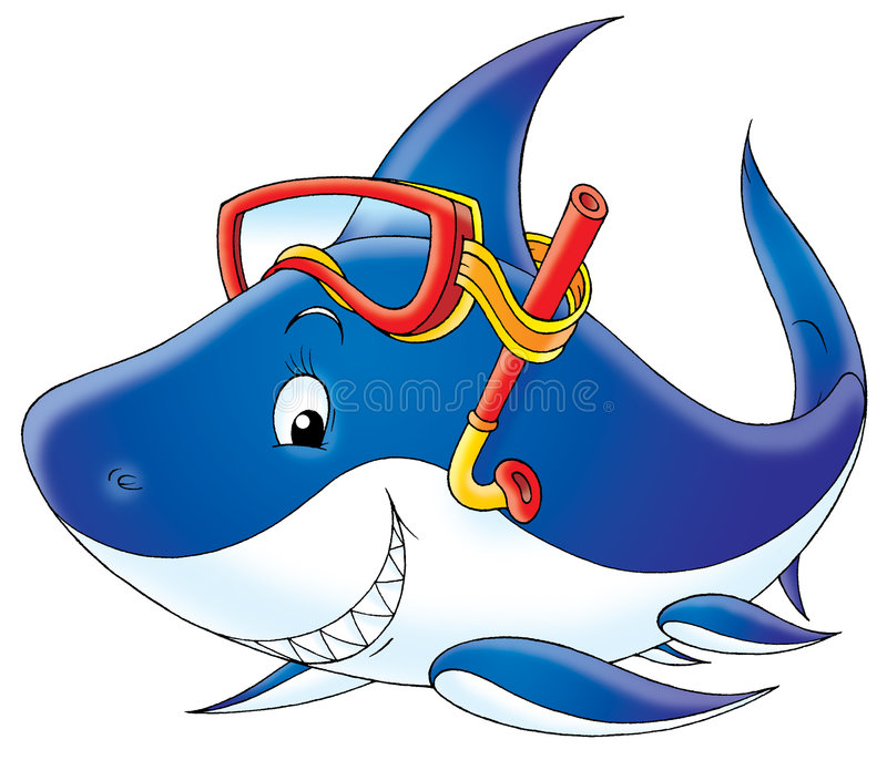 акула водолаза иллюстрация штока
