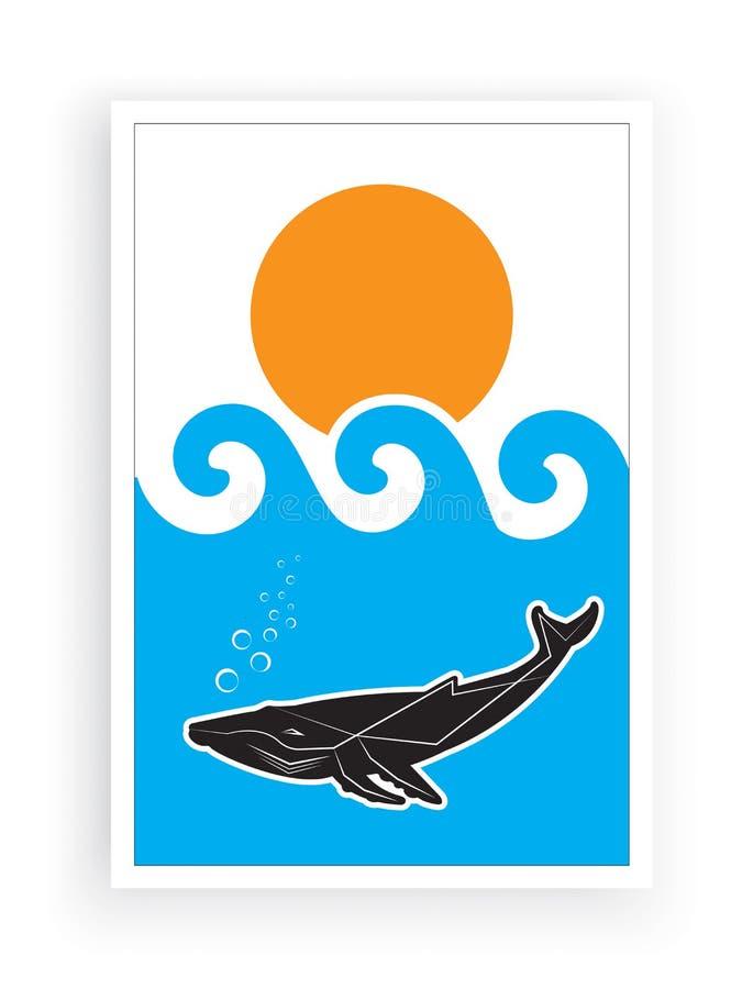 Акула в море на закате, иллюстрация, вектор, минималистская краска, мир моря, подводная вода, сперматозоидный кит в синем море иллюстрация вектора