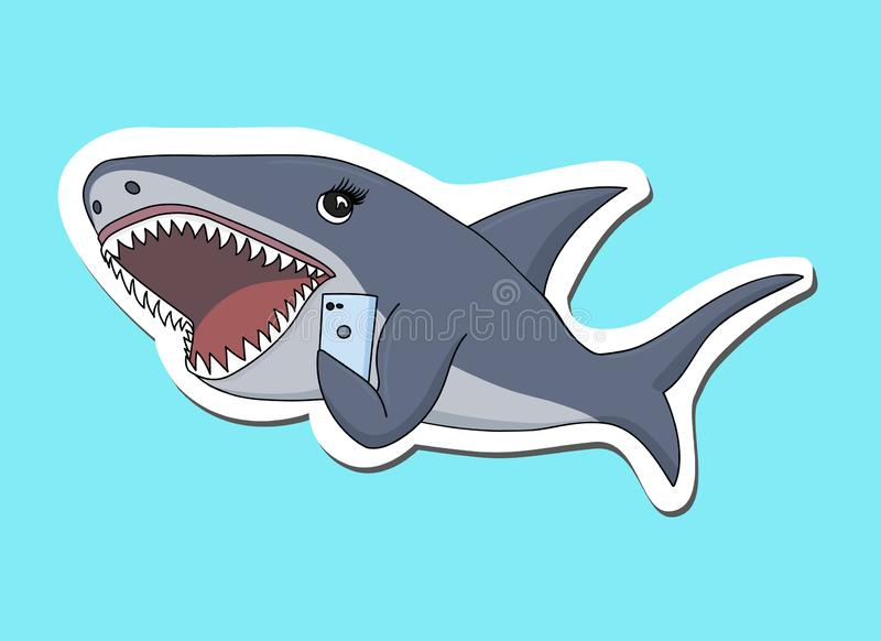Акула которая беседует на мобильном телефоне иллюстрация вектора