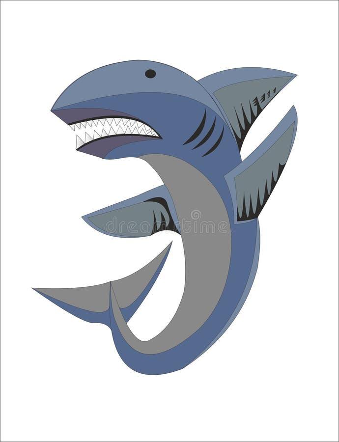 Акула покрашенная как эмблема, символ, логотип иллюстрация вектора