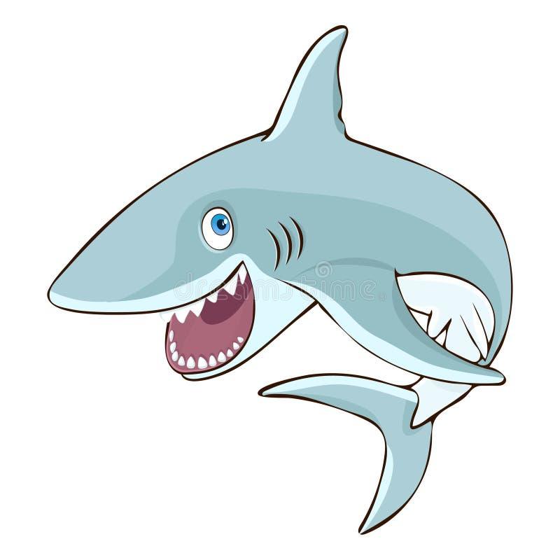 Акула скачет из персонажа из мультфильма воды, иллюстрации вектора, карикатуры, стикера, элемента дизайна Покрашенное красочное м иллюстрация вектора