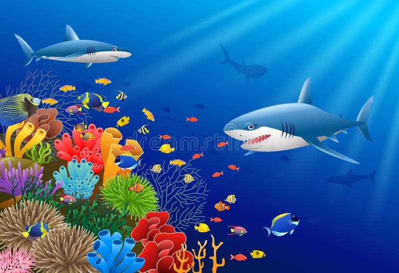 Акула шаржа с коралловым рифом подводным иллюстрация вектора