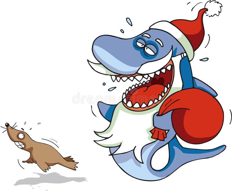 акула santa иллюстрация штока