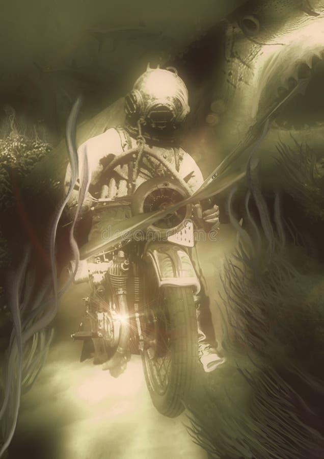 Акулы - иллюстрация руки вычерченная винтажная, воюя водолаз с острогой сидя на мотоцикле бесплатная иллюстрация