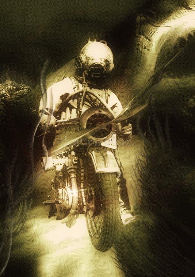 Акулы - иллюстрация руки вычерченная винтажная, воюя водолаз с острогой сидя на мотоцикле стоковое фото rf