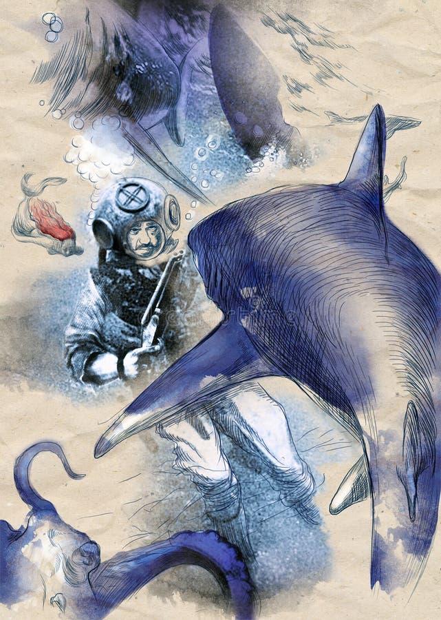 Акулы - иллюстрация руки вычерченная винтажная, воюя водолаз с корокоствольным оружием стоковая фотография